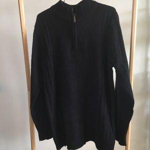 Black Zip Up Mens Acrylic Knit Sweater XL